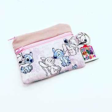 Porte monnaie double zip Disney Stitch fond rose