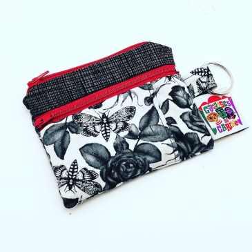 Porte monnaie double zip roses noires