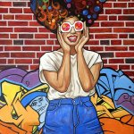 peinture d'une afro street art par Jair Herculano