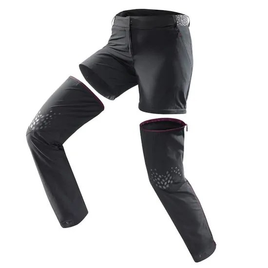 Pantalon+modulable+de+randonn+e+montagne+Femme+MH550+Noir