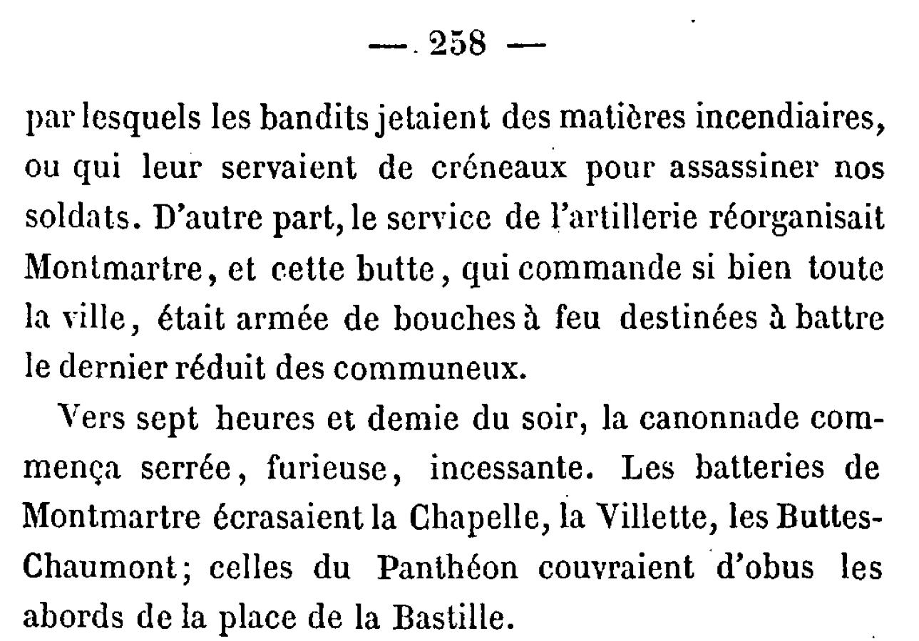 """Page 258 de """"La guerre des communeux"""" d'Eugène Hennebert"""