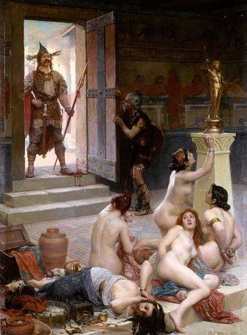 Brennus et sa part de butin, Paul Jamin, 1893. Peinture typique du discours historique de la IIIe République.