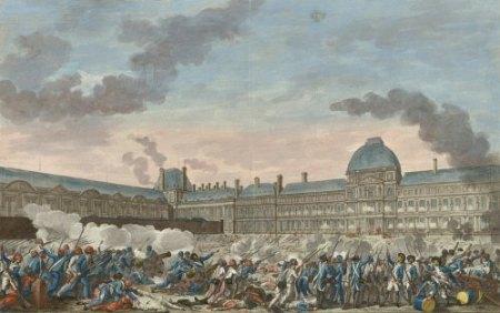 La prise des Tuilerie le 10 août 1792, dessinée par Monnet (1792), gravée par Helman (1793)