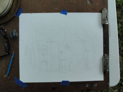 Though light, this deft pencil sketch of the greenhouse will soon guide the black walnut ink.