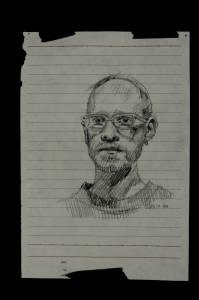 Barrett, graphite on found paper