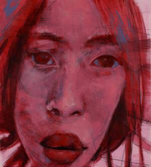acrylic portrait of Asian female