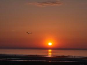 Coucher de soleil sur la plge de Villers-sur-mer