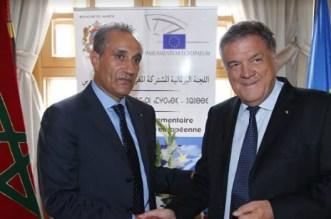 Abderrahim Atmoun, Président de la commission parlementaire mixte Maroc-UE, et Pier Antonio Panzeri, Président de la commission des droits de l'homme du Parlement européen
