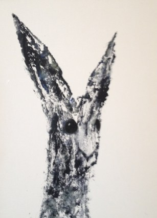 Black Bunny portrait 48 x 38 framed