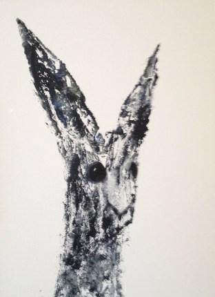 Black Bunny portrait 48 x 38 framed