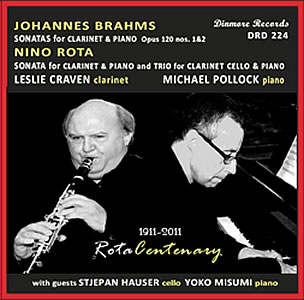 Front cover of cd of music by Brahms and Rota