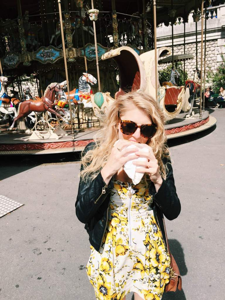 Of course I had to eat a Nutella crepe in front of the carousel from Amelie in Montmarte.
