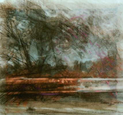 """Along the Road. Charcoal on vellum over acrylic on paper, 5"""" x 5.25"""", 2012 SOLD"""