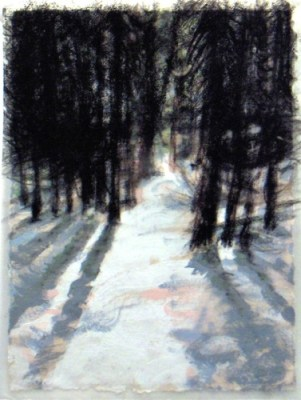 """Forest, Banff. Charcoal on vellum over acrylic on paper, 5"""" x 6.5"""", 2010 SOLD"""