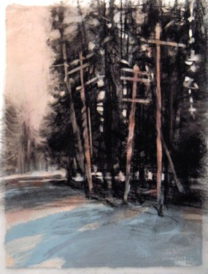 """Tree poles, Banff. Charcoal on vellum over acrylic on paper, 5"""" x 6.5"""", 2010 SOLD"""