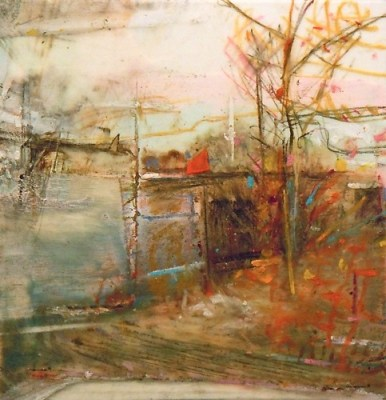 """Fences. Charcoal, oil and pastel on mylar, 3.5"""" x 3.5"""", 2012 SOLD"""