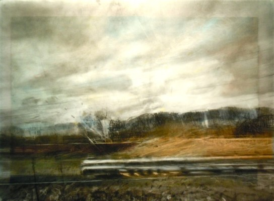 """Landscape with Movement. Charcoal on vellum over acrylic on paper, 22"""" x 30"""", 2012 SOLD"""