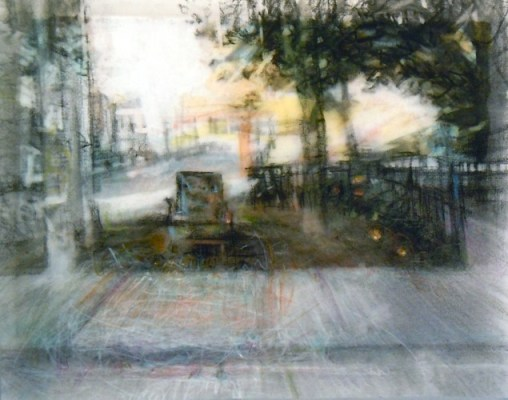 """Chair in a Parkette. Charcoal and pencil on vellum over acrylic on paper, 5"""" x 6.5"""", 2011 SOLD"""