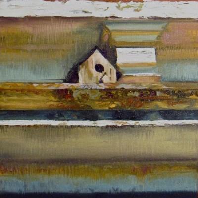 "Bird House. Oil on canvas, 12"" x 12"", 2010 SOLD"