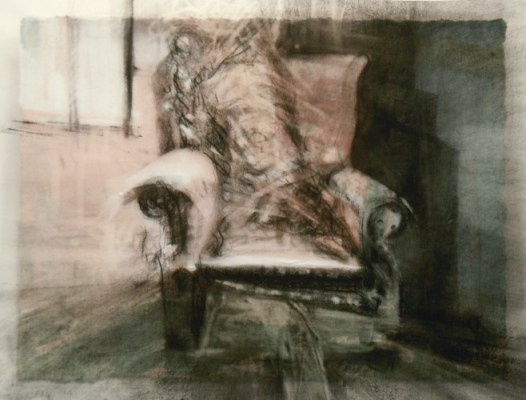"""Disupholstered Chair. Charcoal on vellum over acrylic on paper, 5"""" x 6.5"""", 2010 SOLD"""