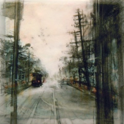 """Queen Street. Charcoal on vellum over acrylic on paper, 5.25"""" x 5.25"""", 2010 SOLD"""
