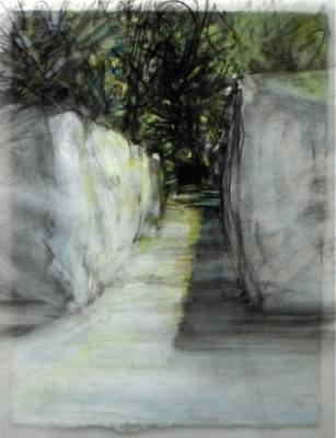 """Shrouded overpass. Charcoal on vellum over acrylic on paper, 5"""" x 6.5"""", 2010 SOLD"""
