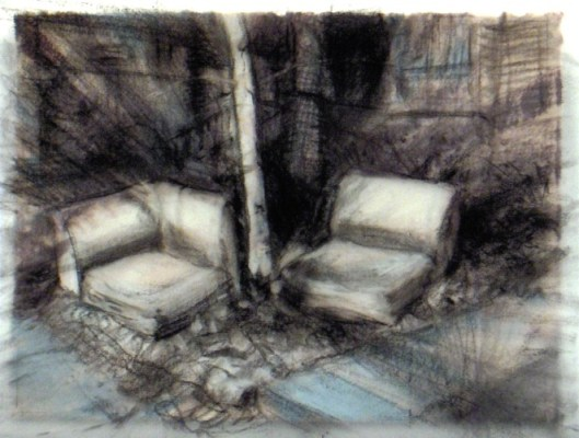 """Landscape with chairs. Charcoal on vellum over acrylic on paper, 5"""" x 6.5"""", 2010 