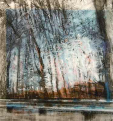 """Trees and Guardrail. Charcoal on vellum over acrylic on paper, 7"""" x 7.5"""", 2011 SOLD"""