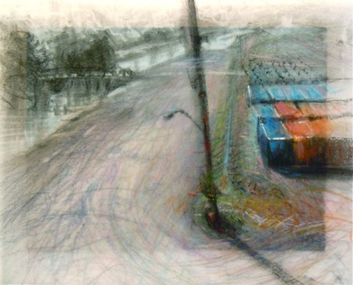 """Containers. Charcoal amd pencil on vellum over acrylic on paper, 5.75"""" x 7"""", 2011 SOLD"""