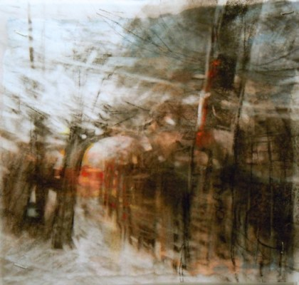 """Through Trees. Charcoal on vellum over acrylic on paper, 5"""" x 5.25"""", 2012 SOLD"""