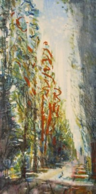 """Assistens Cemetery, Copenhagen. Oil and oil stick on duralar over acrylic and collage on panel, 12"""" x 6"""", 2014 SOLD"""