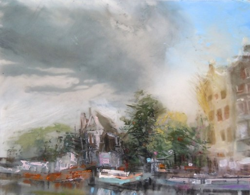 """Canal, Amsterdam. Oil and charcoal on mylar over collage on paper, 5"""" x 6.5"""", 2014 SOLD"""