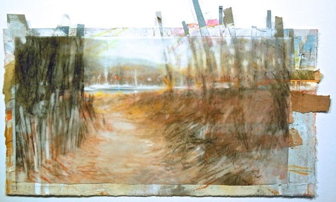 """Fence Path. Charcoal on vellum over acrylic and collage on paper, 11"""" x 6"""" (irregular), 2014  SOLD"""