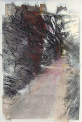 """Hedge Opening, Assistens Cemetary, Copenhagen. Charcoal on vellum over acrylic and collage on paper, 6.5"""" x 4.5"""", 2015 