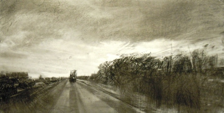 """Highway with Rain. Charcoal on vellum, 8.25"""" x 16.25"""", 2014  SOLD"""