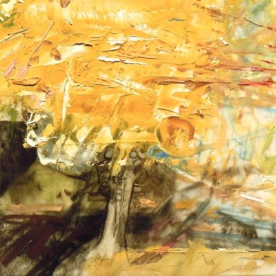 """Linden. Oil and charcoal on mylar, 3.5"""" x 3.5"""", 2013  SOLD"""