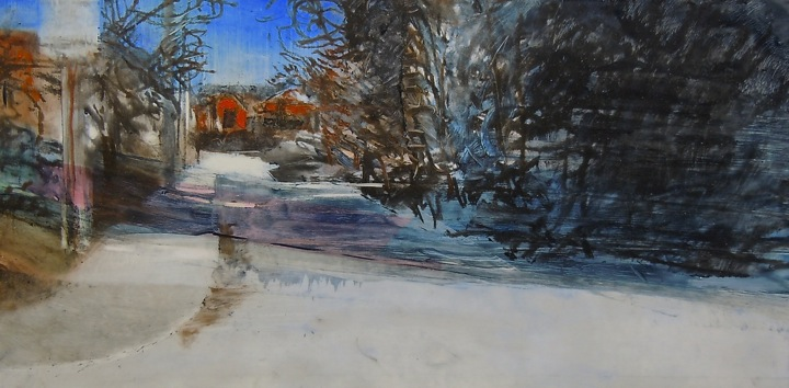"""Marion St., east from Sorauren Ave. Oil and oil stick on duralar over acrylic and collage on panel, 12"""" x 6"""", 2014 SOLD"""