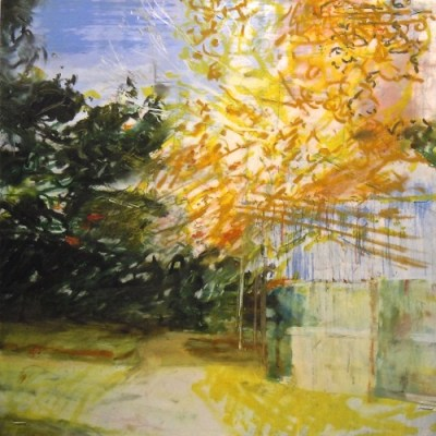 """Path with Fence. Oil & oil stick on mylar over acrylic on canvas, 12"""" x 12"""", 2014  SOLD"""