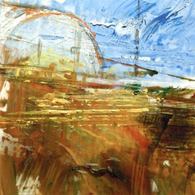"""Quonset Hut. Oil and charcoal on mylar, 3.5"""" x 3.5"""", 2013  SOLD"""
