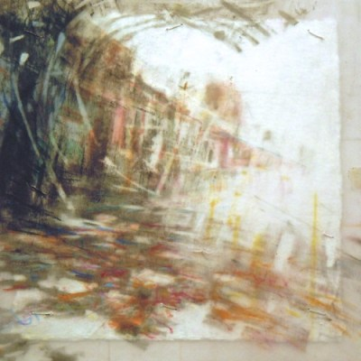 """Summer Street (New Orleans). Charcoal on vellum over acrylic on paper, 5.25"""" x 5.25"""", 2014 