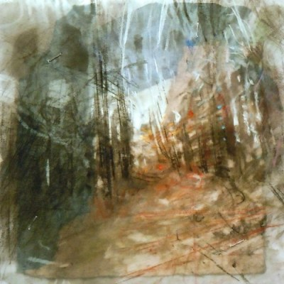 """Trail. Charcoal on vellum over acrylic on paper, 5.25"""" 5.25"""", 2013  SOLD"""