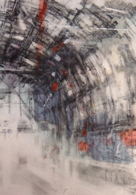 """Train Station, Amsterdam. Charcoal and crayon on vellum over acrylic on paper, 4"""" x 5.5"""", 2015 SOLD"""