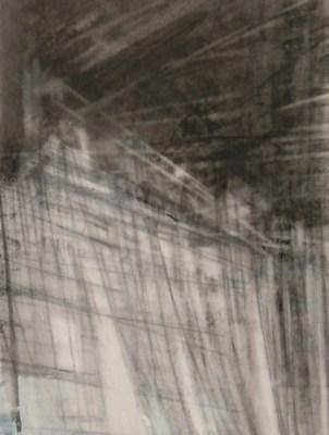 "Truss. Charcoal on vellum, 5.5"" x 4.25"", 2014 SOLD"