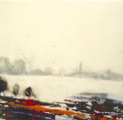 """Near & Far. Oil and charcoal on mylar, 3.5"""" x 3.5"""", 2014 SOLD"""