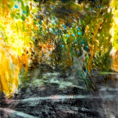 """Night Trees. Oil and crayon on mylar over acrylic on paper, 18"""" x 18"""", 2013  SOLD"""