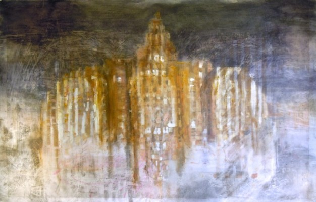 """Central Building. Oil and graphite on vellum over acrylic on paper, 34"""" x 53"""", 2013  SOLD"""