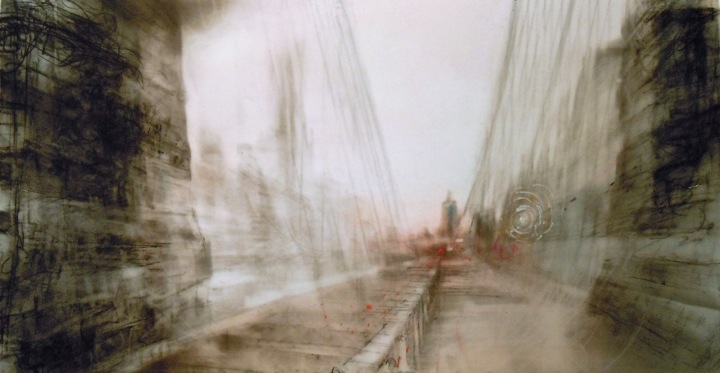 """Toward the City. Charcoal on mylar over acrylic on paper, 7"""" x 13.5"""", 2012  SOLD"""