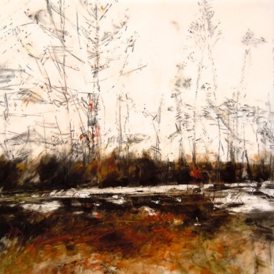 "Last Snow. Oil stick on duralar over acrylic on panel, 12"" x 12"", 2015 | SOLD"