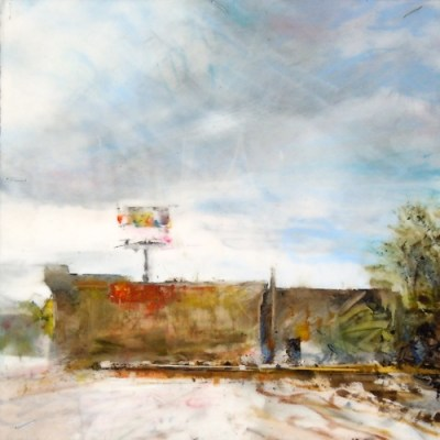 """Parking Lot. Oil stick on mylar over acrylic on panel, 6"""" x 6"""", 2015 