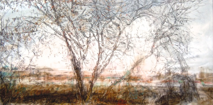 """Trees in Late Autumn. Oil stick on duralar over acrylic on panel, 12"""" x 24"""", 2015 